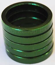"Bicycle MINI BMX ROAD MTB headset spacers for 1"" threadless (5 piece) 5mm GREEN"