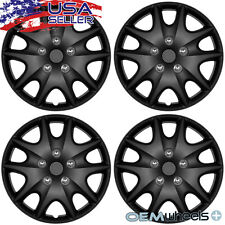 "4 New Matte Black 15"" Hub Caps Fits Chrysler Steel Wheel Covers Set Hubcaps"
