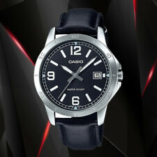 Casio MTP-V004L-1B Mens Analog Watch Leather Band Silver Black Date Display New