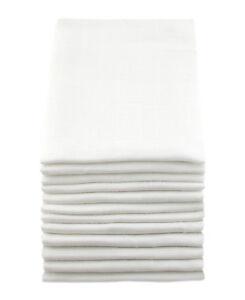 MuslinZ 12PK Baby Muslin Squares Cloths 70cms 100% Pure Soft Cotton White