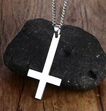 silver Stainless Steel Fashion Plain Cross Pendant Mens Necklace chain 3mm 24''