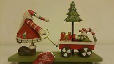 En bois Santa Tirer Traîneau Noël Ornement