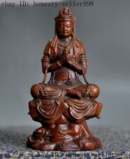Old Chinese Buddhism Boxwood wood Hand Carving kwan-yin Guan yin Goddess Statue