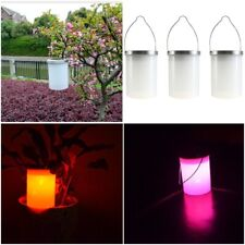 Solar Power Garden Hanging Lantern Light Outdoor Cylinder LED Lamp Waterproof