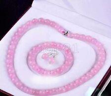 Handmade 10mm Natural Rose Quartz Gemstone Beads Necklace Bracelet Earring Set