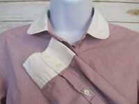J. CREW Size 2 Red Plaid White Collar Button Up Long Sleeve Blouse #420B