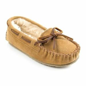 NIB Minnetonka Girls Cassie Cinnamon Moccasin Slippers Leather Fur Lined 9 12 13