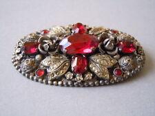 Antike Brosche rote Strass/Gablonz Steine Markasiten Rosendekor 17,4 g