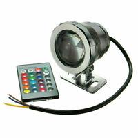 Remote IP68 Waterproof 20W 12V RGB LED Underwater Spot Light Pond Aquarium Lamps