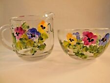 Forget-Me-Knot Sugar & Creamer Set by Christina's Handpainted Glass Giftware