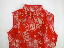 CHINESE QIPAO RED GOLD DRAGON DRESS PARTY WOMEN GIRL UK 14 16 US 10 EU 40 XXXL
