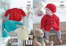 King Cole Baby Aran Knitting Pattern for Cable Knit Vestes Cardigan & CHAPEAUX 4947