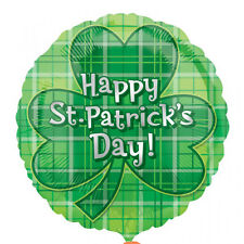 St Patricks Day Shamrock Foil Helium Balloon Plaid Balloon