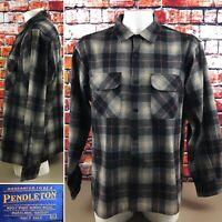 Pendleton Men's XL 100% Virgin Wool Black Red Plaid Button Up Shirt Pockets