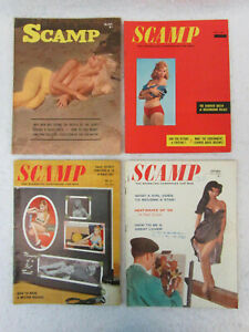 Lot of 4 Vintage SCAMP Magazines 1958-1963 Cover Girls Models Pin-Ups Burlesque