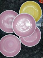 5 Caleca Italy 4 Pink and 1 yellow Soup or Pasta Bowls.
