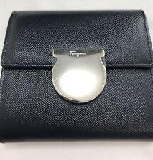 Ferragamo black leather ladies bifold wallet New