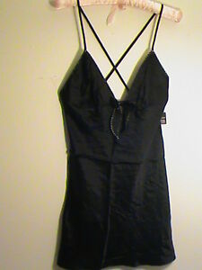 NWT Victoria's Secret S black cami slip 100%-silk teddy sexy X-back nightie