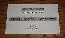 Original 2000 Oldsmobile Silhouette Interior Exterior Color & Trim Brochure 00