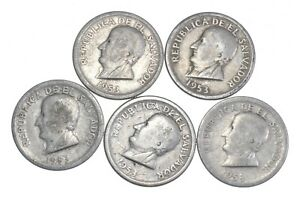 Lot of 5 El Salvador 1953 25 Centavos Silver Coin Lot - Rare one Year Issue *692