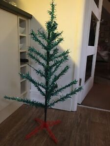 Original Vintage 3ft Green Tinsel Christmas Tree Red Xmas Stand / Base    NO BOX