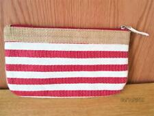 NEW RED, WHITE & BLUE LINING STRAW CLUTCH HAND PURSE OR MAKE UP BAG
