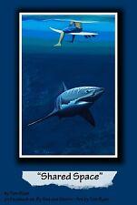 Great White Shark & Surfer ORIGINAL SIGNED ART PRINT by Tom Ryan