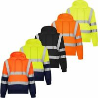 HI HIGH VIZ HOODIE TOP SAFETY SWEATSHIRT HOODED EN471 REFLECTIVE SECURITY TAPE