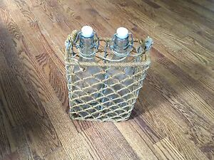 Rustic Rope Twine Carrier 2 Clear Bottles Vintage Kitchen Barn Decoration Decor