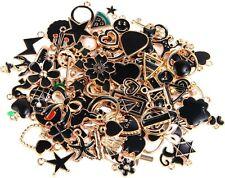 10 Enamel Gold Charms Black Pendants Findings Set Assorted Lot Mix