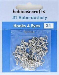 JTL206 - PACK OF 24 SETS OF SILVER HOOKS & EYES SIZE 3