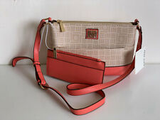 NEW! ANNE KLEIN CORAL CROSSBODY SLING BAG PURSE W/ CARD HOLDER WALLET $65 SALE