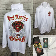 Ed Hardy Christian Audigier White Track Jacket Hoodie Tiger Los Angeles 2XL A-4