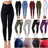 Womens Skinny Ripped Pants High Waist Jeans Pencil Trousers Leggings Jeggings