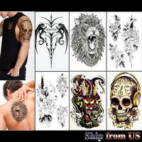 6 pcs Temporary Tattoo Stickers Waterproof Arm Leg & Chest Body Art Dragon Lion