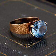 Antique Vintage Art Deco Retro 14k Rose Gold Synthetic Blue Spinel Ring! Sz 8