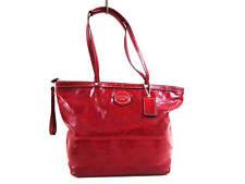 Auth COACH Signature Stitch Patent Tote F15142 Red Patent Leather Tote Bag