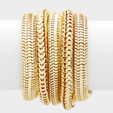 5 layer gold multi chain bangles cuff bracelets stack stretch bracelet