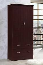 Bedroom Armoire 2-door 2-drawers mahogany wardrobe storage closet cabinet wood