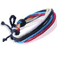 D2 Mens Boys Leather Cord Hemp Rope Strings Surfer Wristband Bracelet  MKUK092D