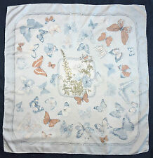 Vintage HERMES Paris FARANDOLE Butterfly FLORAL Caty LATHAM Pink Blue Silk Scarf