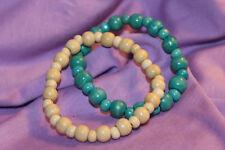 2x Armband -  Perlen - beige + türkis blau - Holz - ethno - süß - bequem