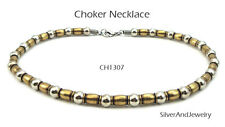 Antique Gold Silver Tone Finish Metal Necklace Choker Men Women Unisex Jewelry
