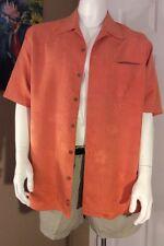 Men's Classic Tommy Bahama Peach Color Embossed Hawaiian 100% Silk Shirt Sz Lg