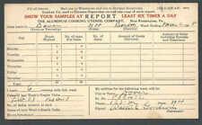 1927 Aluminum Cooking Utensil Co Portland Me Salesmans Report Card