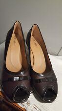 I Love Comfort Megan Ladies Leather Brown Peep Toe Bow Pumps Shoes Size 8.5 M