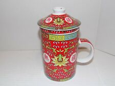 Chinese Porcelain Tea Cup / Mug  with Infuser and Lid Red Asian Pattern