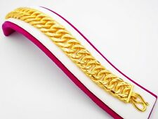 Men's Classic 22K 23K 24K Thai Yellow Gold Plated  Bracelet 7.5 inch Width 18 MM