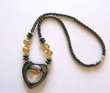 Fashion Necklace -Hematite- heart pendant -yellow beads-gray shade