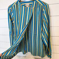 VINTAGE LIZ CLAIBORNE Size 14 Blouse Blue Yellow Brown Stripes Wrap Top 1970s 70